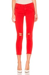 Mother Looker Ankle Fray Crop In Red