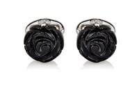 Jan Leslie Men's Rose Cufflinks Silver