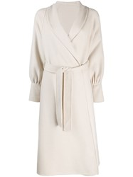 L'autre Chose Single Breasted Belted Coat Neutrals