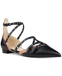 Nine West Aweso Buckle Pointed Toe Flats Women's Shoes Black Dark Natural