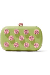 Red Valentino Redvalentino Embellished Leather Clutch Lime Green
