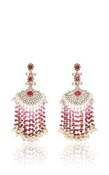 Sanjay Kasliwal Ruby Fan Earrings Red
