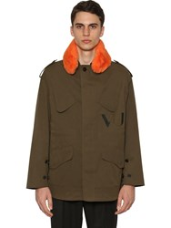Valentino Vu Caban Cotton Jacket W Faux Fur Collar Military Green