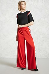 Forever 21 Snap Button Pants Red White