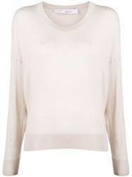 Iro Ribbed Round Neck Jumper Neutrals