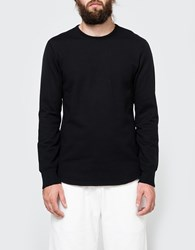 Reigning Champ Scalloped Ls Crewneck In Black