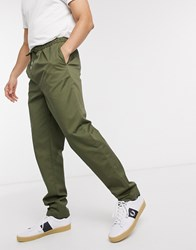 Fred Perry Drawstring Twill Trousers In Khaki Green