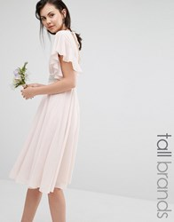 Tfnc Tall Wedding Fluted Sleeve Embellished Waist Midi Dress Peach Blush Pink