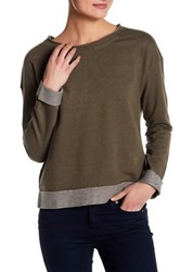 Melrose And Market Striped Pullover Sweater Green