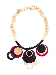 Marni Horn Disc Pendant Necklace Metallic