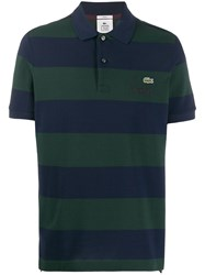 Lacoste Live Embroidered Logo Striped Polo Shirt Blue