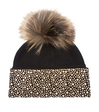 William Sharp Embellished Pom Pom Hat Black