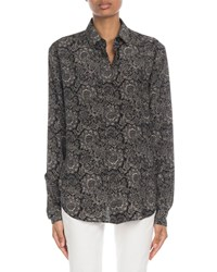 Saint Laurent Bandana Print Chiffon Button Front Blouse Black White