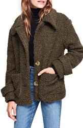 Free People So Soft Faux Fur Peacoat Green