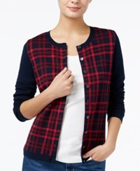 Tommy Hilfiger Marilyn Sparkle Plaid Cardigan Only At Macy's Masters Navy Multi