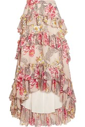 Philosophy Di Lorenzo Serafini Tiered Ruffled Floral Print Cotton And Silk Blend Maxi Skirt Beige