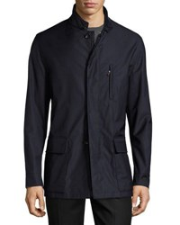 Luciano Barbera Zip Front Wool Car Coat Navy