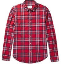 Sandro Checked Cotton Flannel Shirt Red