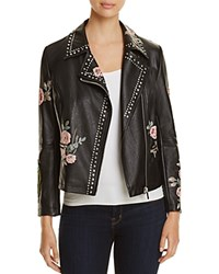 Bagatelle Studded Floral Faux Leather Moto Jacket Black