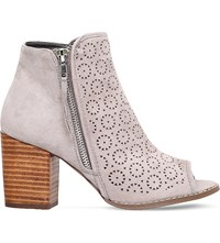 Miss Kg Sasha Faux Suede Peep Toe Ankle Boots Taupe