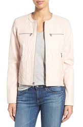 Women's Cole Haan Quilt Detail Leather Collarless Jacket