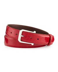 W.Kleinberg Glazed Alligator Belt With 'The Paisley' Buckle Red Made To Order