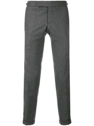 Thom Browne Seamed Elastic Stripe Skinny Wool Trouser Grey
