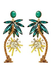 Elizabeth Cole 'Pamela' Swarovski Crystal Palm Tree Drop Earrings Multi Colour