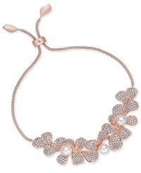 Danori Rose Gold Tone Imitation Pearl And Crystal Pave Flower Slider Bracelet Created For Macy's