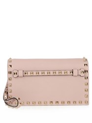 Valentino Rockstud Small Leather Clutch Light Pink
