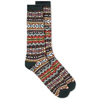 Anonymous Ism Fair Isle Crew Sock Green
