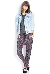 Forever 21 Tropical Harem Pants Navy Wine