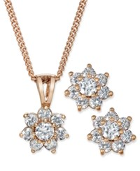 Charter Club Chater Rose Gold Tone Cubic Zirconia Flower Pendant Necklace And Earrings Set Only At Macy's