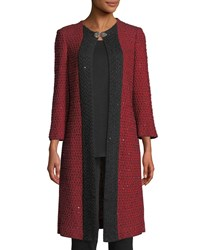 Misook 3 4 Sleeve Sparkle Knit Long Jacket Classic Red Black