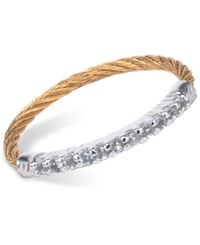 Charriol Women's Laetitia White Topaz Accent Two Tone Pvd Stainless Steel Cable Ring Two Tone