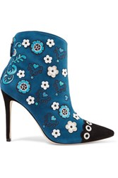 Isa Tapia Rumba Embroidered Suede Ankle Boots Cobalt Blue