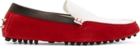 Alexander Mcqueen Red And White Suede Studded Driver Loafers
