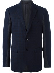 Etro Plaid Single Breasted Blazer Blue
