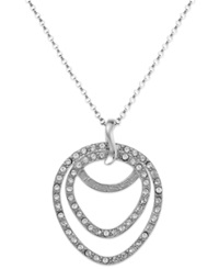 Sis By Simone I Smith Platinum Over Sterling Silver Necklace Crystal Double Teardrop Pendant