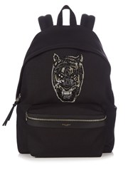 Saint Laurent Embroidered Tiger Canvas Backpack Black Multi