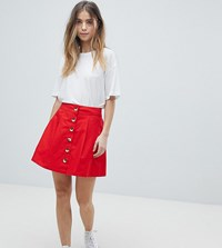 Asos Design Petite Cotton Mini Skater Skirt With Button Front Red