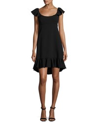 Milly Lindsey Cap Sleeve Cady Dress Black