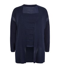 Marina Rinaldi Chiffon Panelled Top And Cardigan Twinset Female Navy