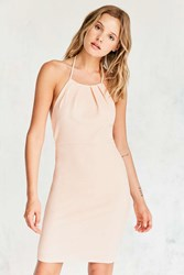 Silence And Noise Pleated Knit Halter Mini Dress Peach