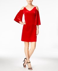 Msk Embellished Velvet Cold Shoulder Dress Red