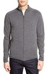 Men's Velvet By Graham And Spencer Full Zip Cashmere Cardigan Charcoal Grey