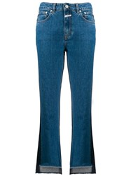 Closed Two Tone Cropped Denim Jeans Blue