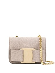 Salvatore Ferragamo Glitter Vara Bow Crossbody Bag Gold