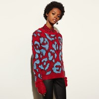 Coach Wild Beast Intarsia V Neck Sweater Red