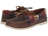 Sperry A O 2 Eye Plaid Brown Red Men's Lace Up Casual Shoes